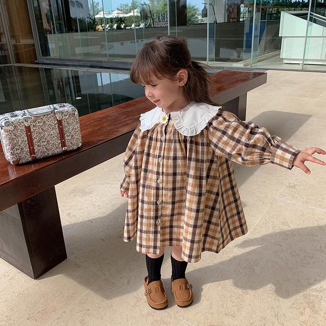 【3/5まで予約】2021春 ベビー/キッズ 襟付きチェックワンピース【予約限定価格】