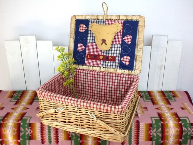ヴィンテージ ピクニックバスケット 籐製 レトロ ギンガムチェック(中サイズ) 昭和レトロ キャンプ ピクニック