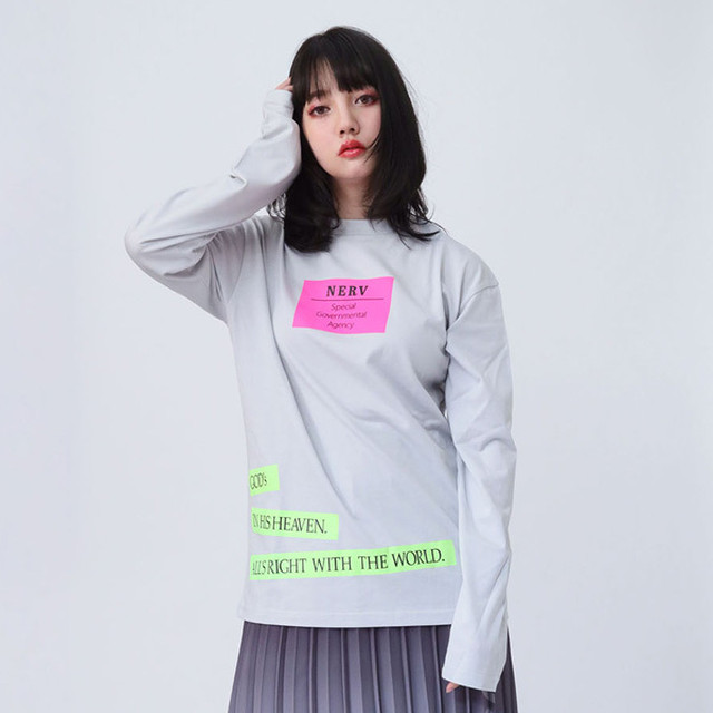 【FLOWER by RADIO EVA 019】NERV Box and Lettering Long T-Shirt  GRAY / EVANGELION エヴァンゲリオン