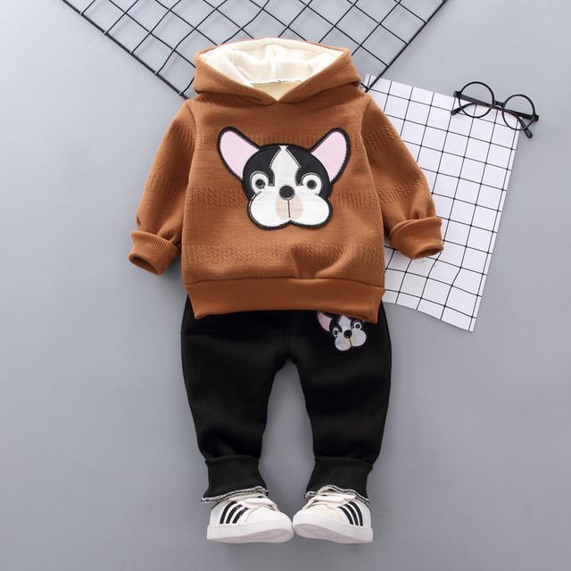 【子供服】犬プリント裏起毛フード付き二点セット24029901