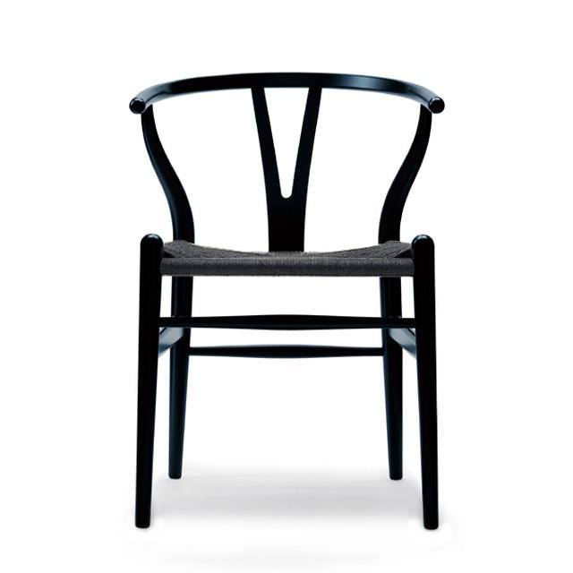 【オンラインショップ限定】CH24 Yチェア オーク ブラック ペーパーコード(ブラック塗装)レザークッションプレゼント[カールハンセン&サン]