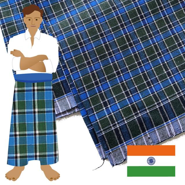 南インドの涼しいボトムズ ルンギ布 056