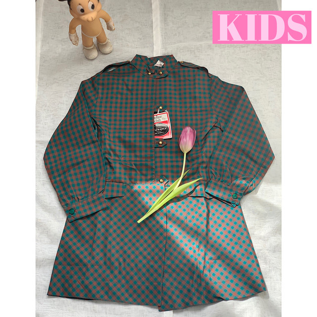 【KIDS】French vintage 70's checkered nylon blouse - Size 6 years-
