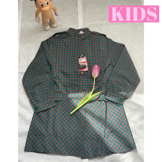【送料無料】【KIDS】French vintage 70's checkered nylon blouse dress- Size 6 years-