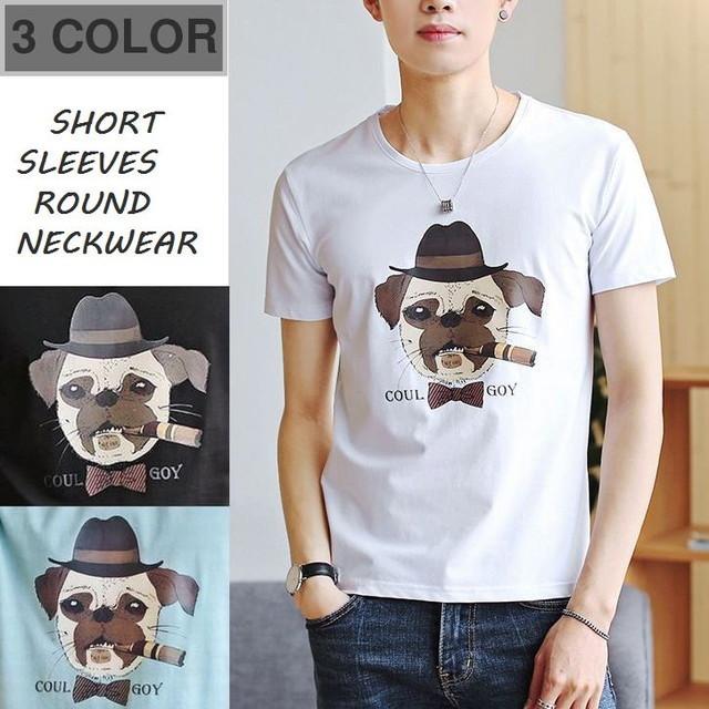 フレンチブルドッグプリントTシャツ / MEN'S SHORT SLEEVES ROUND NECKWEAR T-SHIRTS (WCN-1529764914)