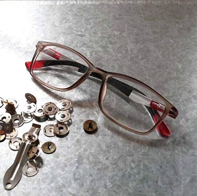 【ラス1になりました】サロンワーク用 手元グラス(老眼鏡) スモークレッドトリコロール