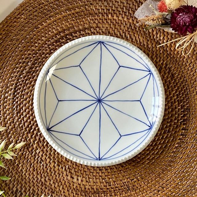 染付麻の葉 いげ皿(M)