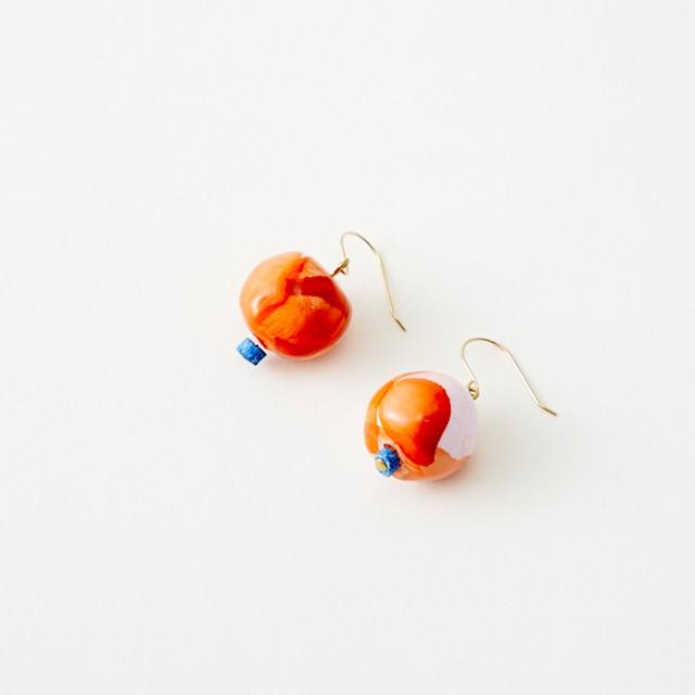 ピアス -ORANGE-  BEADS