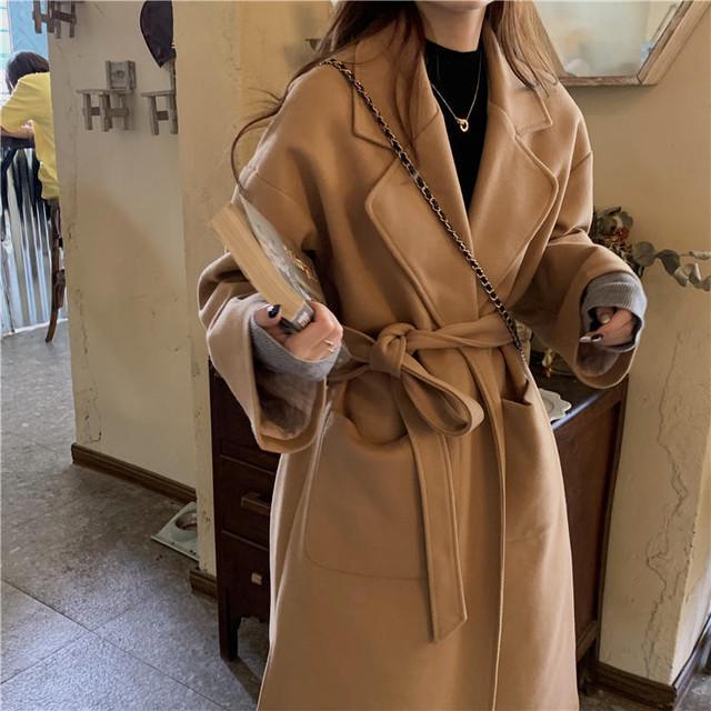 【送料無料】 大人可愛い アウター♡ ウール ロング コート チェスターコート ウエストマーク付き シンプル レトロ
