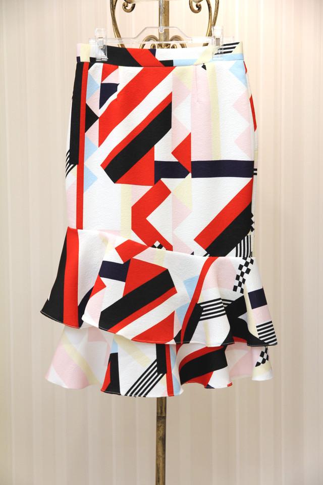ホワイトレッド柄スカート 1-102