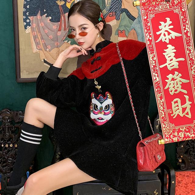 【JKJSシリーズ】★チャイナ風ワンピース★重工刺繍 チャイナ服 改良唐装 中華服 S M L LL 虎刺繍