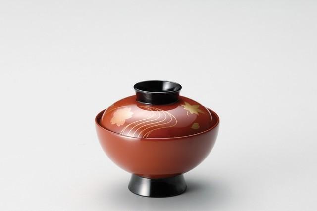 竜田川 吸物椀 古代朱