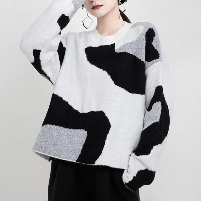 Cow pattern sweater KRE658