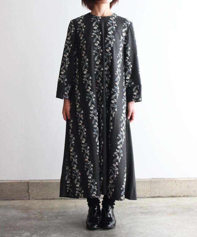撫菜刺繍のワンピースドレス  グレー (evh606-GRY)