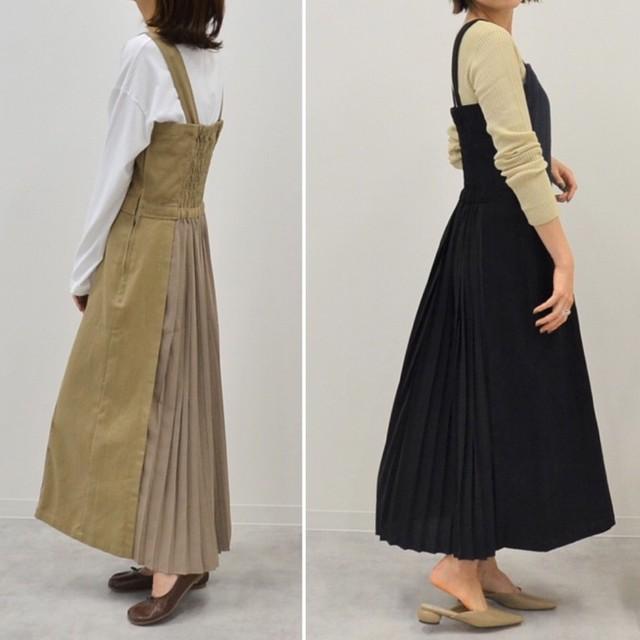 ◆即納◆プリーツ切り替え ツイル ジャンパースカート OP-3-5