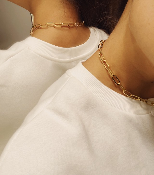 Crystal Chunky Paperclip Chain Necklace.