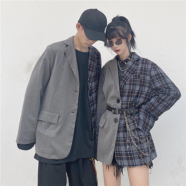 無地×チェックのテーラードジャケット