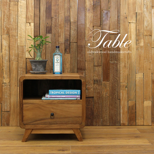 ●送料無料●チーク材のレトロかわいいサイドボード! 総チーク材 天然木  無垢材