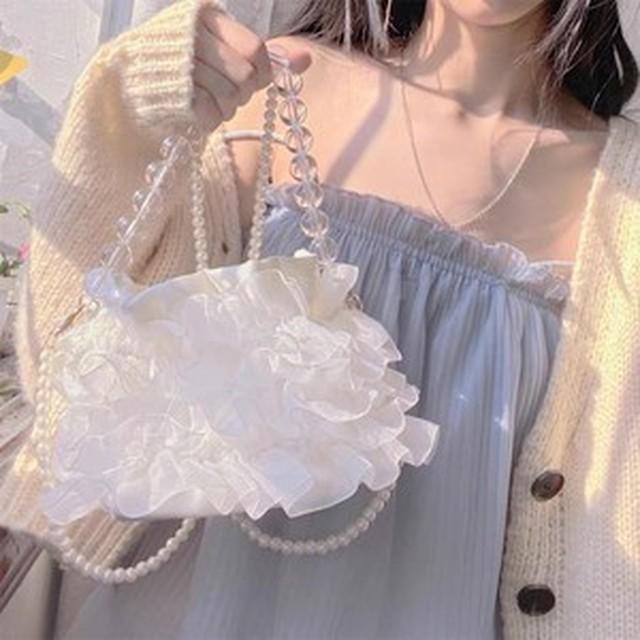 【韓国レディースファッション】 6661 バッグ カバン パーティーバッグ ショルダー ハンドル フリル パール 結婚式 ミニバッグ レディース 送料無料