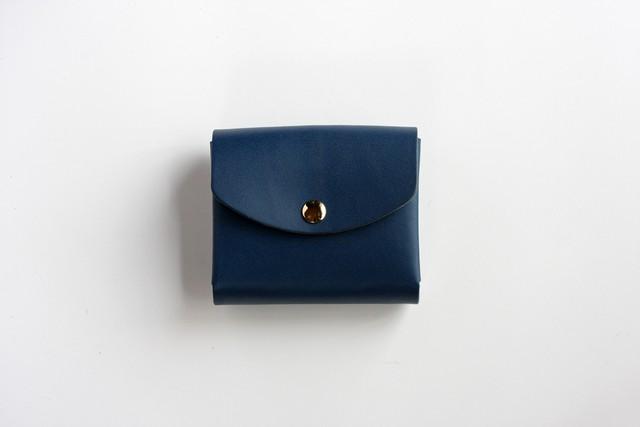 ※完売※スムースレザー(栃木レザー)_ブルー◆外装◆こども財布◆三つ折り