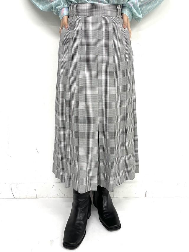 houndstooth  pleats skirt / 3SSSK01-18