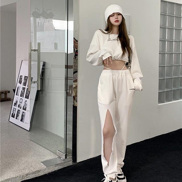 【セット】「単品注文」ファッション長袖ラウンドネックプルオーバーパーカー+パンツ50580278