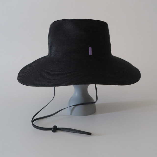 SS20-BE-5 Paper Braid Long Brim Hat BLK