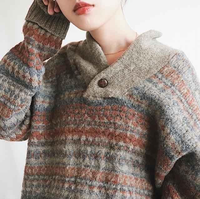 Shawl collar pattern knit