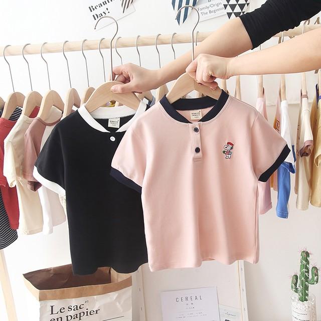 【トップス】シンプルカートゥーンボタンPOLOネックTシャツ・カットソー29803284