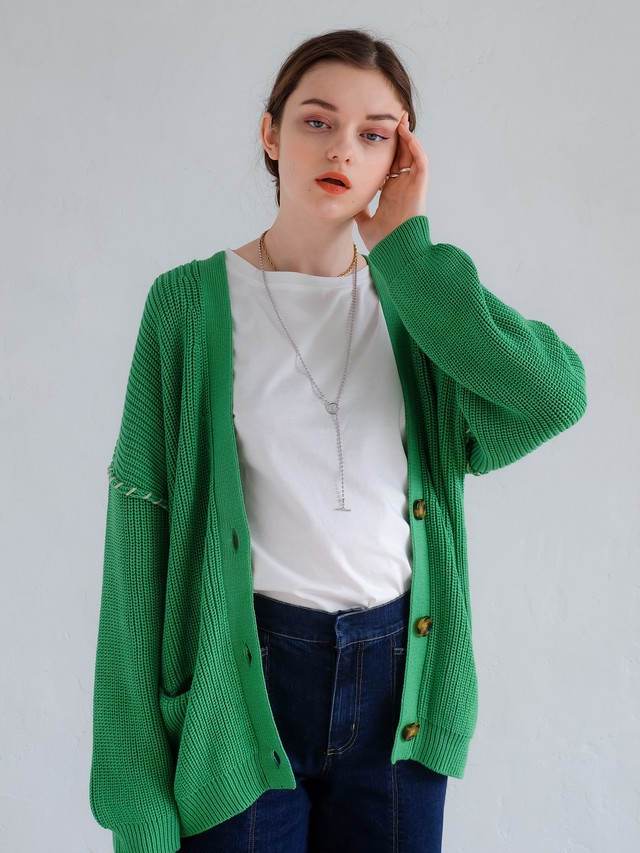 hand stitch knit cardigan(green)