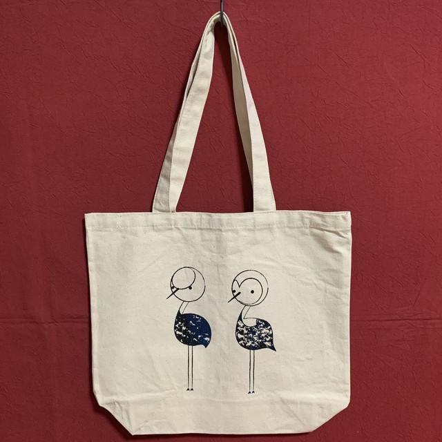 オリジナルファブリックのバッグ(ブルー)