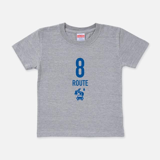 Tシャツ[Route8:キッズ]R8 Going my way ミックスグレー色
