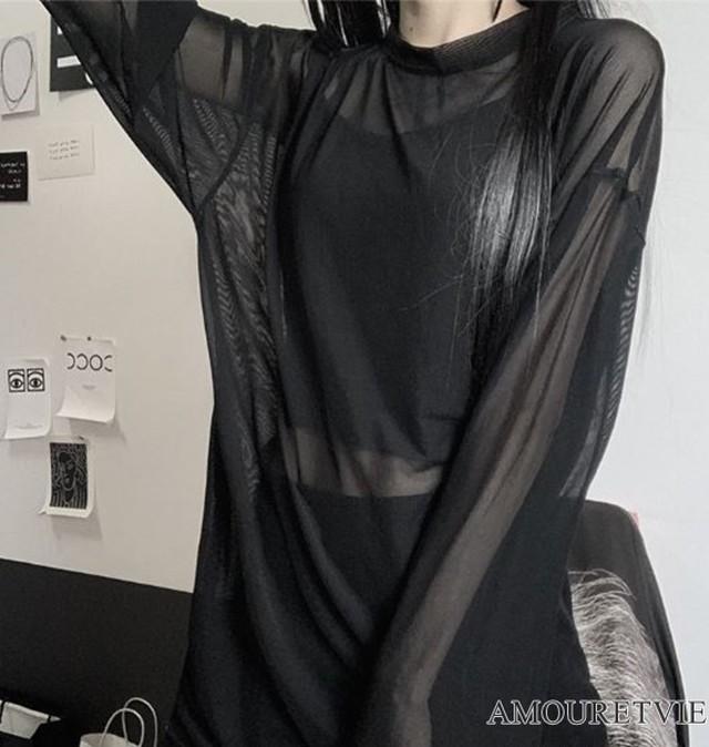 ブラウス インナー セット メッシュ 透け感 シースルー 黒 ブラック 白 ホワイト 紫 パープル ピープス オルチャン 韓国ファッション 1402