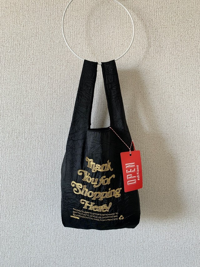 【OPEN EDITIONS / 送料無料】THANK YOU MINI エコバッグ/ THANK YOU FOR SHOPPING HERE Black