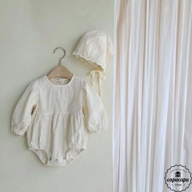 «予約»«bebe» lace babysuit set ベビーボディスーツ ボンネット付き