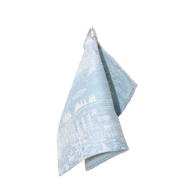 【完売】ひびのこづえ キッチンクロス「ある一日」/ ブルー リトアニアリネン 44x32cm リトアニア製 KL18-01