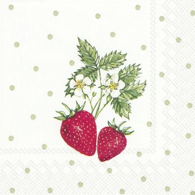 2020春夏【IHR】バラ売り2枚 カクテルサイズ ペーパーナプキン LITTLE LOVELY STRAWBERRIES ホワイト