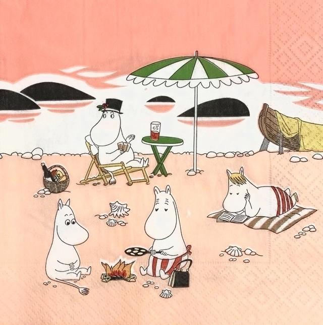2021新作【ムーミン】バラ売り1枚 ランチサイズ ペーパーナプキン Moomin Together コーラルオレンジ スウェーデン製 ARABIA夏限定マグ