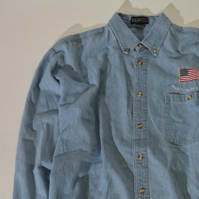 【XLサイズ】 LA LOVING USA FLAG DENIM SHIRT デニムシャツ INDIGO インディゴ 400602190821