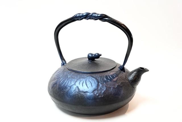 南部鉄器 鉄瓶 ひさご大 瑠璃色1.2L
