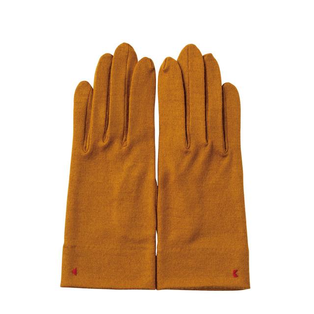 【手袋】104 マスタード/ウール100%/手が細くキレイに見える
