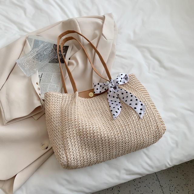 ドット柄リボン編みこみかごバッグ S4101