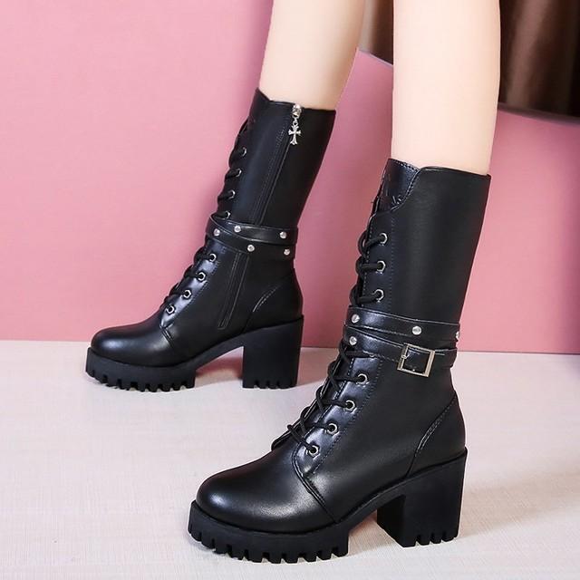 【シューズ】ファッションミドルヒールバックル暖かい丸トゥミドル丈ブーツ38261837