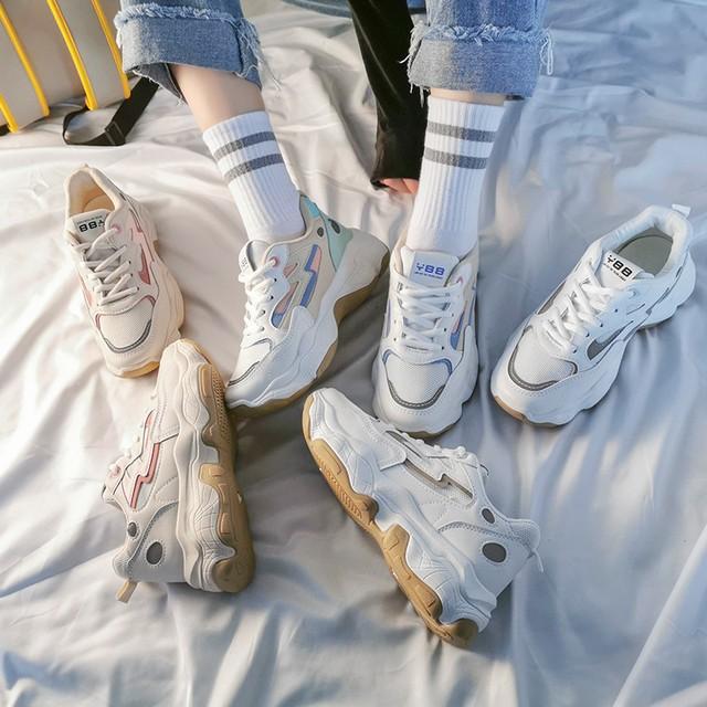 ダッドスニーカー 厚底 韓国ファッション レディース スニーカー ダッドシューズ シューズ 厚底スニーカー カジュアル / Wild Super Fire Smart Smoke Shoes (DTC-607514847414)