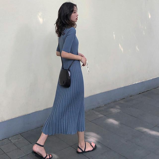 韓国ファッション ロングワンピース ニットワンピ 2カラー RPQ951402