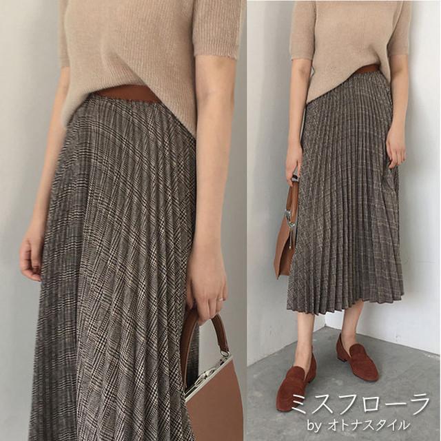 【予約】チェックプリーツスカート 安い ロング 大きいサイズ コーデ 春夏 レディース