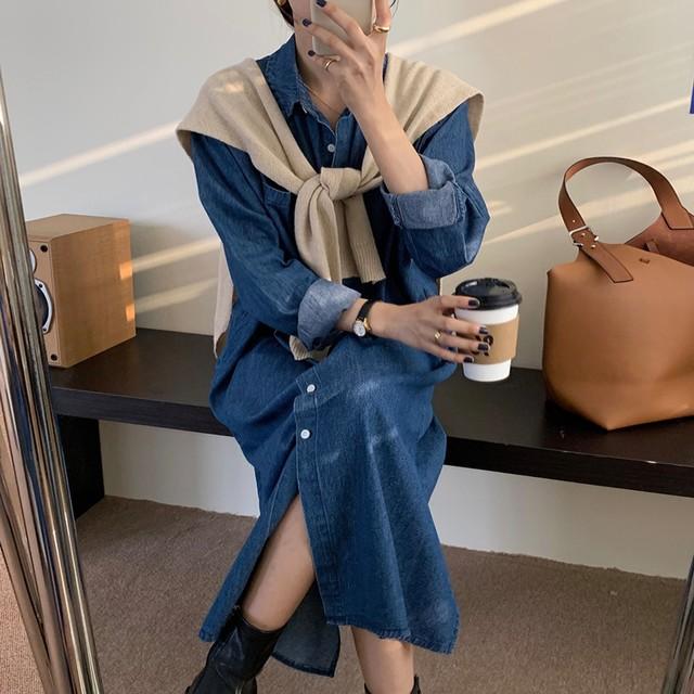 Denim dress + knit shawl / ワンピース + ショール / LE-150