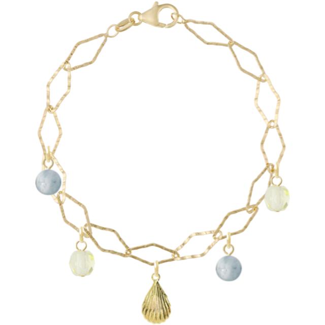 Aquamarine gold shell bracelet