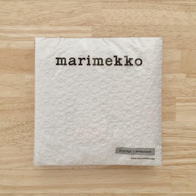 完売再入荷【marimekko】バラ売り1枚 ランチサイズ ペーパーナプキン UNIKKO embossed オフホワイト