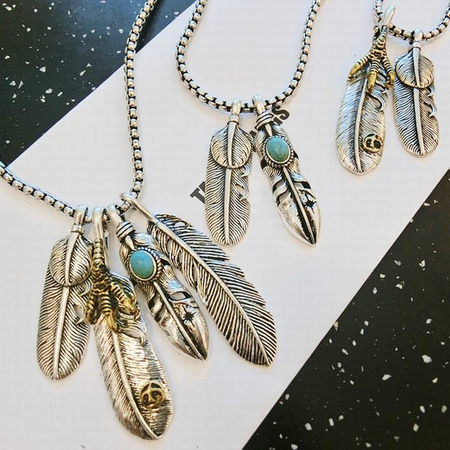 【BISITE】選べる3パターン!フェザー ターコイズ ネックレス ペンダント / Feather turquoise necklace pendant (DCT-543987144907)